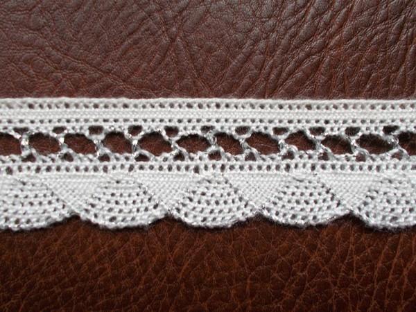 Spitze 3 cm weiß silber